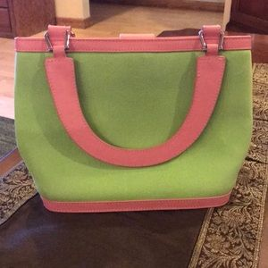 Lilly Pulitzer linen and leather handbag/tote